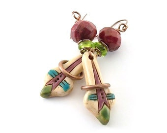 Handmade Earrings, Polymer Clay Earrings,  Rustic Earrings, Brass Earrings, Artisan Earrings, Boho Earrings, Red Green and Turquoise, AE091