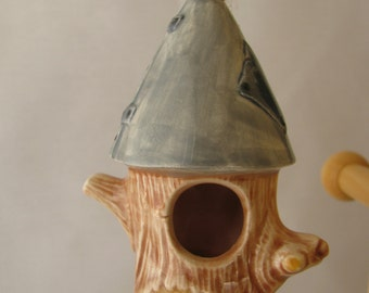Birdhouse with Cone Shaped Roof Ceramic Ornament