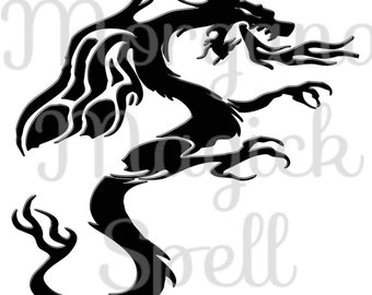 BLACK DRAGON   Royalty Free Clip Art Illustration Wiccan Digital Image Download Printable Graphic  Transfers Prints HQ 300dpi jpg png