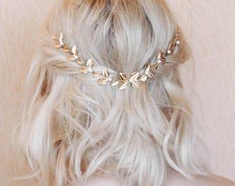 Bridal Head Chain Boho Bridal Back Headpiece Bohemian Headpiece Gold Leaf Bridal Hair Comb Gold Leaves Grecian LeavesHeadpiece back of head