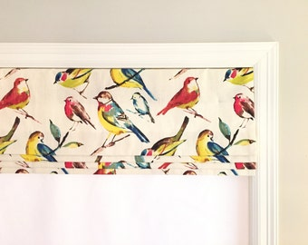 Faux (fake) flat roman shade valance. Custom Sizing. More colors available! Richloom Birdwatcher Meadow