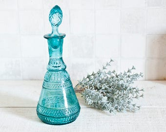 Gorgeous Vintage French blue glass bottle - Antique glass decanter