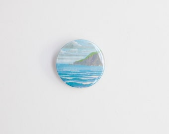 Seascape - A Badge / Pinback Button made from a Vintage Ladybird Book, 38mm 1.5 Inches