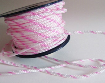 4 metres of cord colors pink and white 3 mm