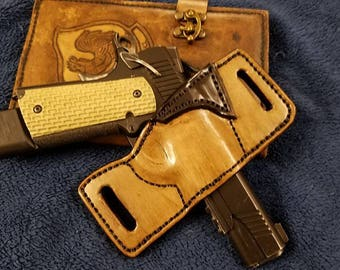 Partial coverage hand made leather gun holster for open or concealed carry Range Runner with belt loops