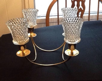 Gold Tone Stand With 4 Home Interior Diamondlite Clear Glass Votive Candle Holders