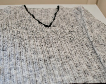 Handknitted Boys V-Neck Jumper/Sweater to fit a 8 Year Old.