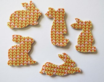 Fabric Rabbit Embellishments for scrapbooking or applique- hand cut