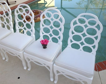 "VINTAGE ""LOOP"" CHAIRS / Frances Elkin Style Loop Chairs / set of 4 / freshly lacquered Palm Beach Chic at Retro Daisy Girl"