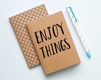 Pocket Sized Notebook Booklet - Enjoy The Little Things (SET OF 2)