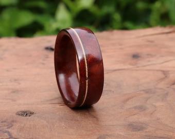 Forest jewelry, Musician jewelry, Mens wood ring, Guitar string inlay ring, Manzanita burl wood ring Bronze guitar string, Wood wedding band