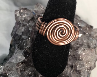 Spiral Wire Wrapped Ring; Copper; Silver; Gold; Custom Sizing