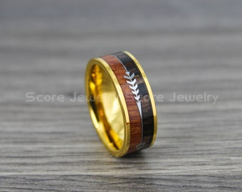 FREE SHIPPING Custom Engraved 8mm Tungsten Wood Ring Boho Ring with Koa wood and Boho Arrow Inlay Tungsten Wood Ring Bohemian Wedding Ring