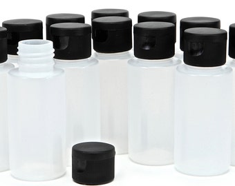 12 New, High Quality, 2 oz Clear Plastic Squeeze Bottles, with Black Caps.