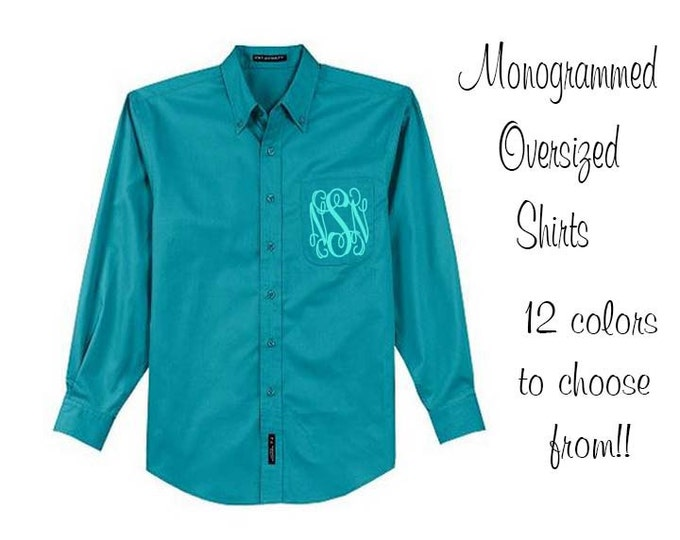Monogrammed Oversized Bridal Party Shirt Set of 7 Personalized Over Sized Shirt, Bridesmaids Gift, Bachelorette Party, Oxford, Getting Ready