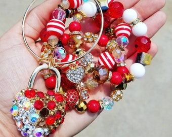 Red, White, Conac, Gold, and AB Color Bracelet Set