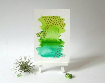 Wand-Dekor, moderne abstrakte Kunst, Aquarell, Aquarell Originalvorlage, grüne abstrakte Aquarell, Bücherregal Dekor