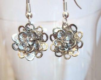 Elegant Earrings of Crystal Swarovski Silver Flowers, Wedding, Bride, Bridesmaid, Anniversary, Mothers Day