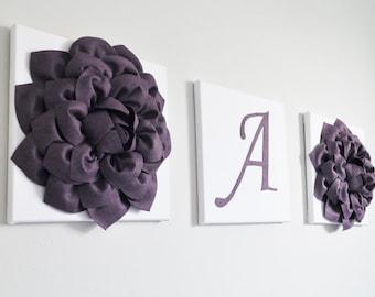 Plum Home Decor Flower Letter 12X12 Canvas Flower Blossom Wall Art 3D Decor Purple Wall Art Baby Nursery Wall Decor Bathroom Home Decor