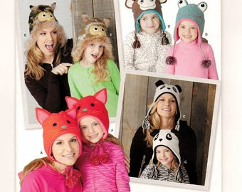 A Hat Pattern for Misses & Children: Cat, Owl, Panda , Monkey, Frog - Uncut - Hat Sizes Misses S-M-L and Childrens S-M-L ~ Simplicity 0930