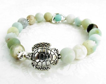 Amazonite Bracelet, Sea Turtle Bracelet, Heart Bracelet, Natural Stone Bracelet, Heart Jewelry, Turtle Jewelry, Mother's Day Gift, Mom Gift