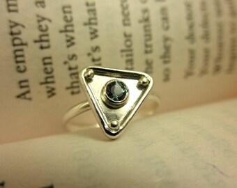 Labradorite Triangle Ring (Size 6), Labradorite Ring, Labradorite Geometric Ring, Labradorite Ring