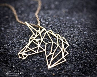 Unicorn necklace origami necklace fantasy jewelry unicorn gift,unicorn birthday origami jewelry  geometric necklace birthday gift