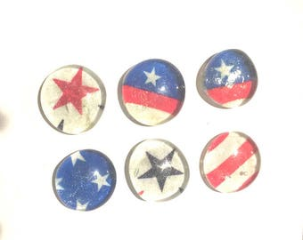 Patriotic Magnets Red White Blue Stars Stripes  x6