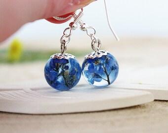 Forget me Not Earrings, Resin Flower Earrings, Blue Flower Earrings, Drop Earrings, Gift for Her, Remembrance Jewelry, Memorial Gift