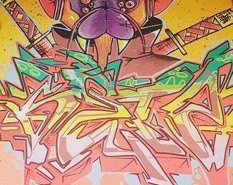 Original character graffiti canvas