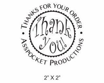 Thank You with your Shop Name or Message Rubber Stamp AD59