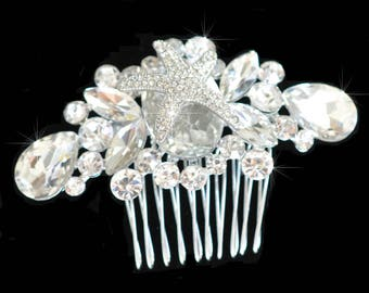 Vintage Inspired Fancy Cut Crystal Rhinestone Starfish Hair Comb, Bridal, Wedding (Sparkle-2401)