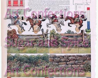 Vintage Steeplechase Horse Racing Paper Dolls Digital Collage Sheet