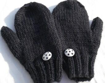 Mittens Hand Knit Soccer Mittens Black Merino Wool Children's Mittens (SM) W/Soccer Ball Buttons Hand Knit Black Wool Kid's Soccer Mittens