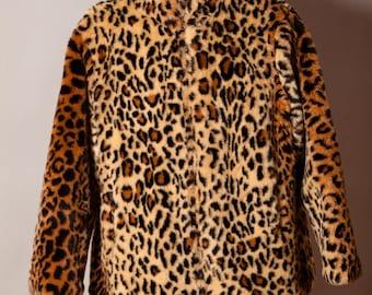 80s 90s Womens Leopard Print Faux Fur Coat - FUDA FU DA