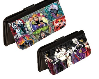 Personalized character wallet womens bifold leatherette character villains wallets. Great gift for any occasion