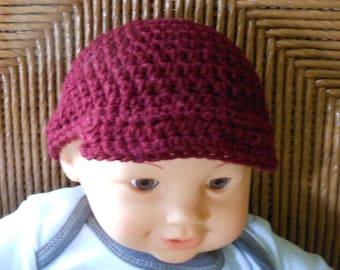 Baby Cap, Newsboy Hat, Baby Hat, Maroon Baby Hat, Crochet Baby Hat