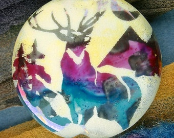 "Lampwork Beads ""Misty Stag"" Handmade Sandblasted Glass SRA ~ Watercolour Iridescent Lustre Picture Bead ~ Cool Neutrals"