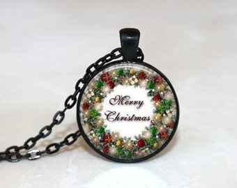 Christmas Necklace Christmas Jewelry Glass Tile Necklace Glass Christmas Wreath Glass Tile Jewelry Holiday Necklace Holiday Jewelry