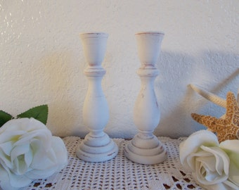 White Shabby Chic Taper Candle Holder Set Beach Cottage Coastal Seaside French Country Farmhouse Home Decor Wedding Reception Decoration