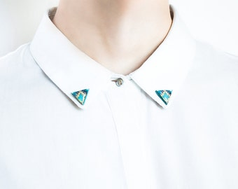 Collar brooches, triangle collar clips geometric accessory