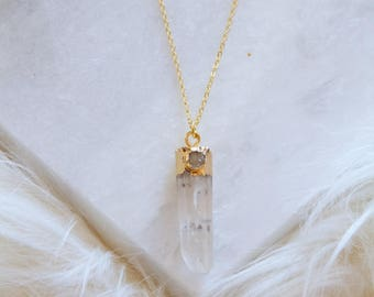 Quartz Crystal, Druzy, Long Necklace