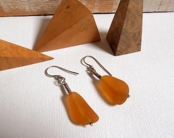 vintage 70's sea glass earrings