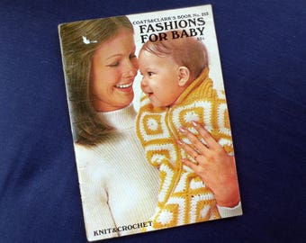 1971 Fashions for Baby Vintage Booklet, Knit & Crochet, Coats and Clark's Book No. 213