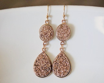 Double Drop Rose Gold Druzy Earrings Jewelry Set Bridesmaid Gift Birthday Gift Valentines Gift Rose Gold Geode Pink Quartz Gift for Mom