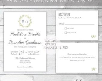 Sage/Gray Printable Wedding Invitation Set | Garden Wedding | Madeline Collection | RSVP & Enclosure Card | Custom Colors Available