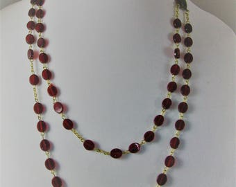 Rosary Necklace, Two-tiers, Cranberry Red Beads,  28 inches