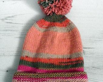 Pompom Hat pink 6-12 months