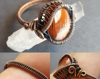 Crystal Ring, Copper Crystal Ring, Wire Wrapped Ring, Wire Wrapped Jewelry, Handmade Copper Jewelry, Natural Stone, Natural Stone Jewelry