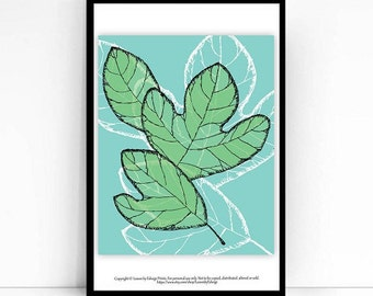 Sassafras leaves print - 8x10 inch wall art print - Blue Green - Originally pen and ink - Spring Decor - Home decor art print -Gifts for mom